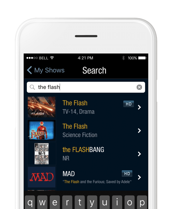 mobile phone streaming media playing TiVo online search display, white phone