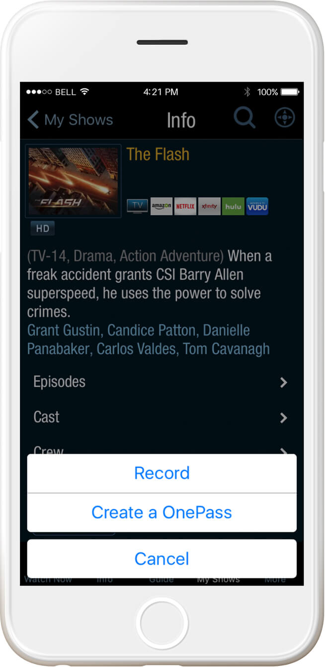 ios record and watchlist tivo onepass