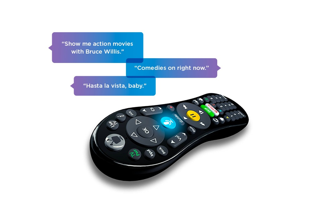Sample voice commands: 'Show me action movies with Bruce Willis.', 'Comedies on right now.', 'Hasta la vista, baby'