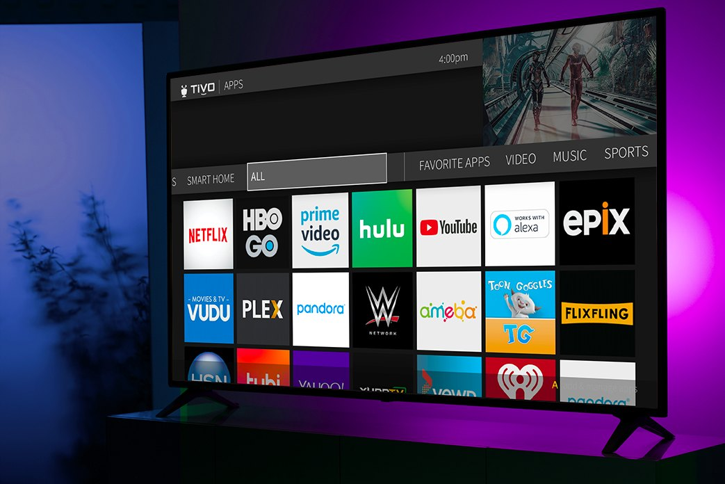 TV screen showing Tivo EDGE for antenna Apps home page