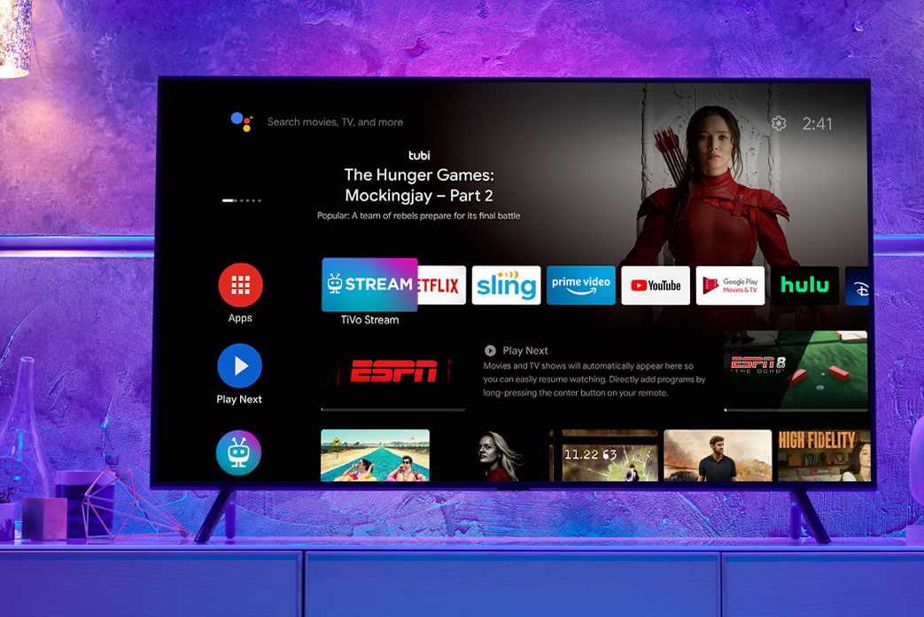 An image of a TV showing the Stream 4K apps home screen