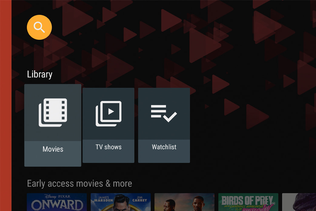 An image of the Google Play screen for the movies and TV shows library