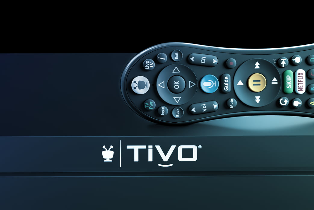 closeup of TiVo logo on EDGE for cable with remote on top