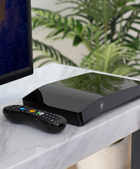 a black tivo bolt with remote