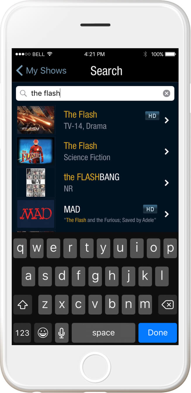 iphone display TiVo unified search, the flash typed