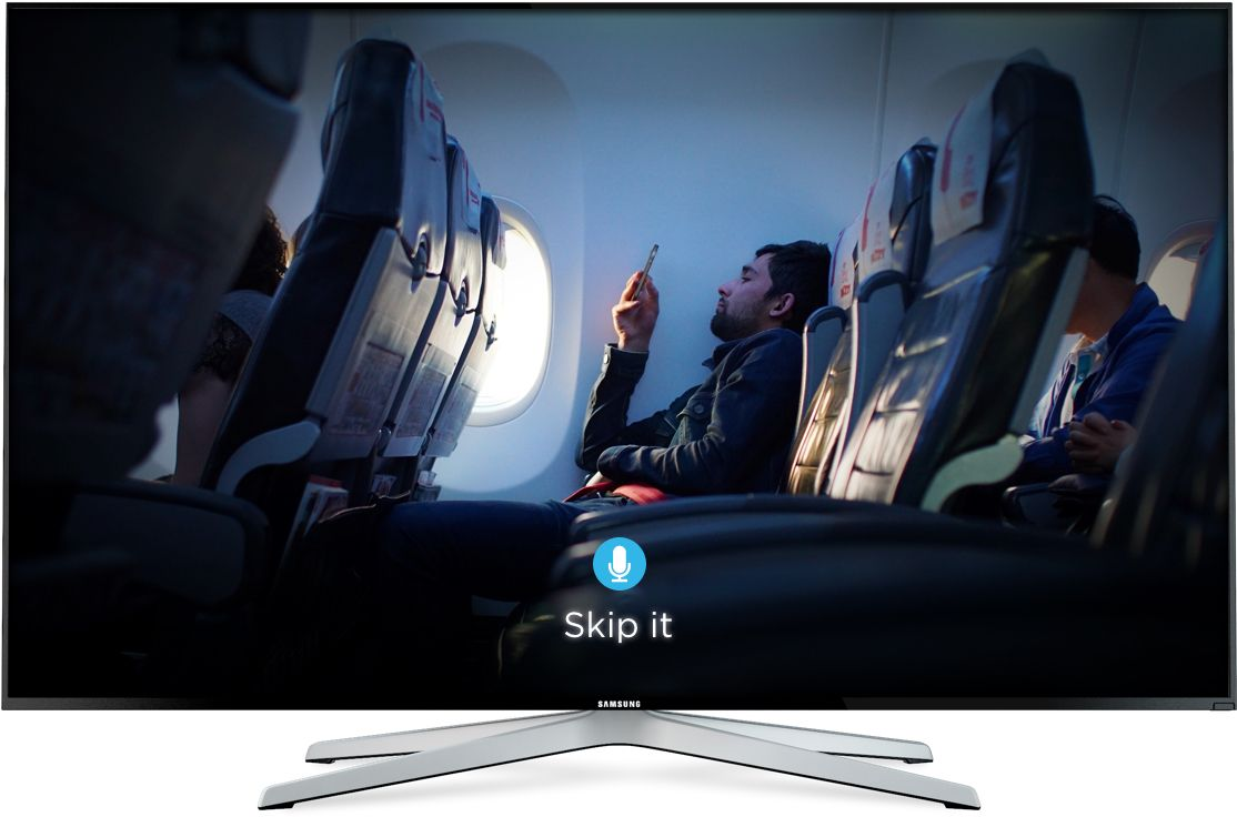 4K TV display airplane, TiVo SkipMode interface
