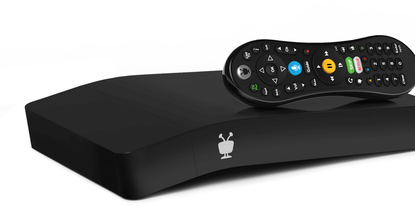 TiVo Best cable DVR set top box, black with voice remote control.